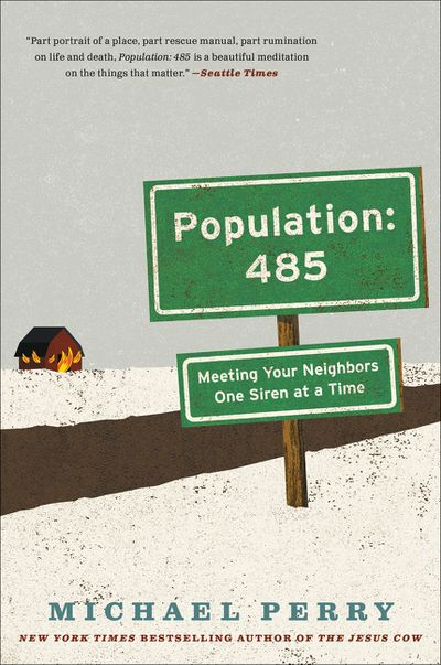 Population 485 cover shows a snowy landscape, a single house and a green road sign with the title
