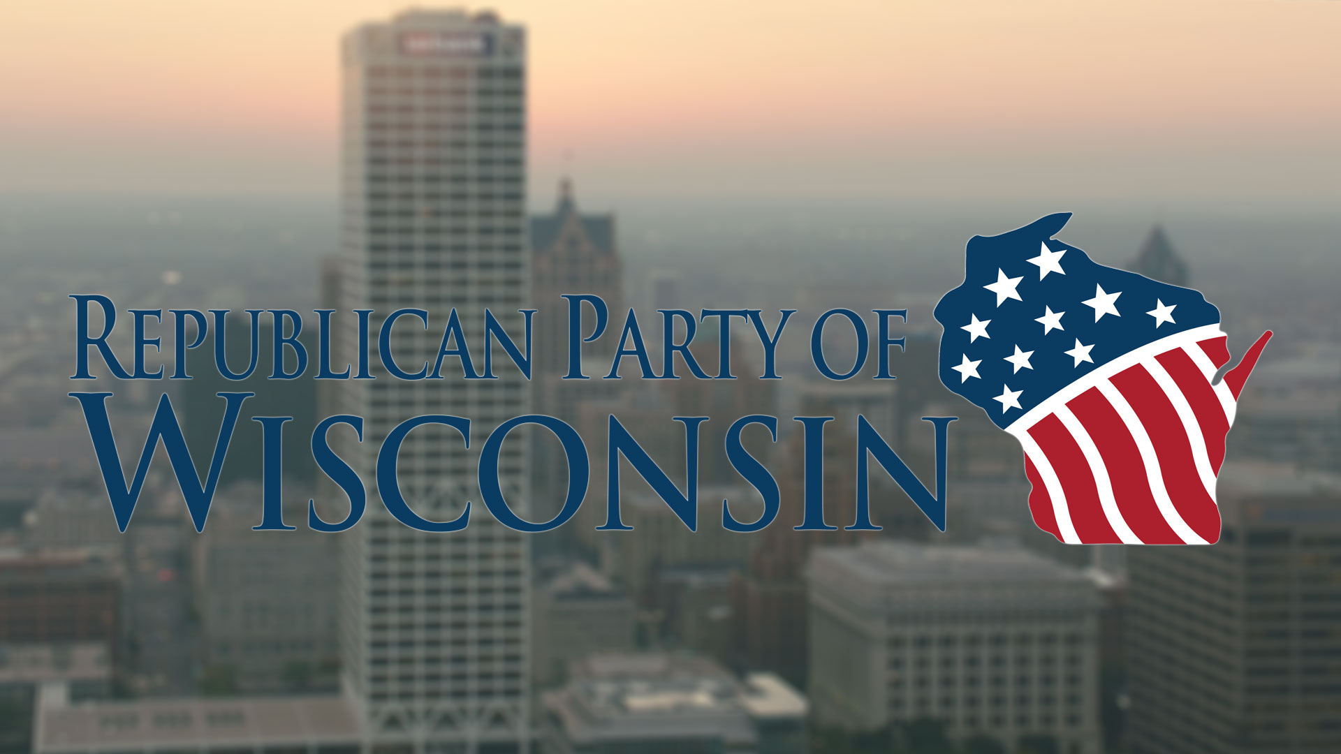 Republican Party logo over the Milwaukee skyline.