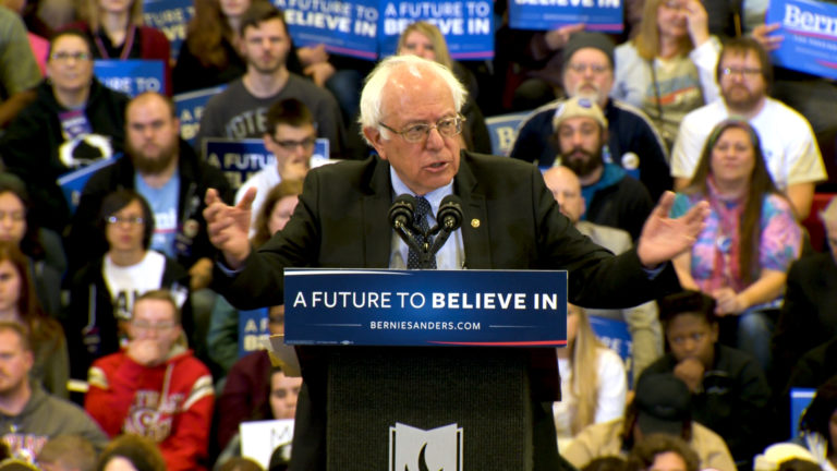 Bernie Sanders speaks at a 2016 campaign rally at Carthage College in Wisconsin.