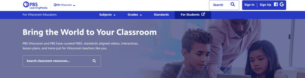 Screenshot of PBS Learning Media Web Header