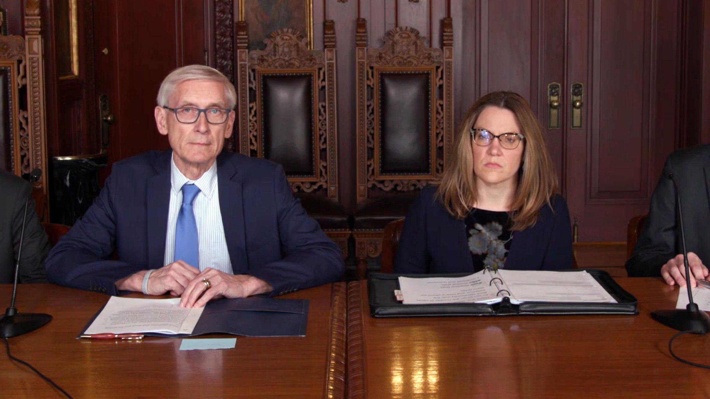 Gov. Tony Evers and Sec.-des. Andrea Palm