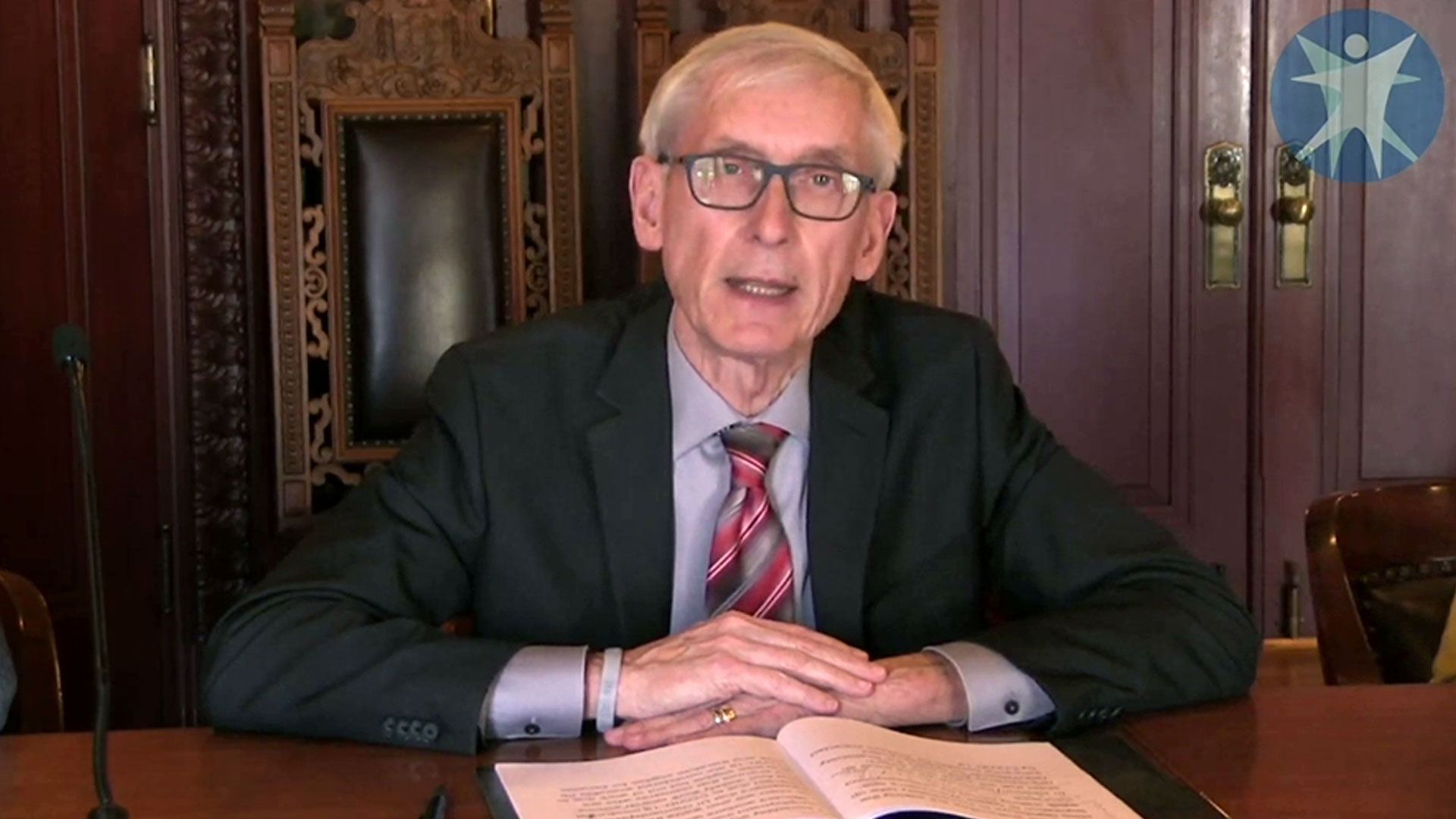 Gov. Tony Evers announces a ban on gatherings of more than 10 people March 17, 2020 amid concerns of the novel coronavirus spreading. (Courtesy: Dept. of Health Services)