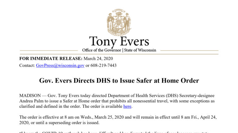 Update: Evers Issues 'Safer at Home' Order