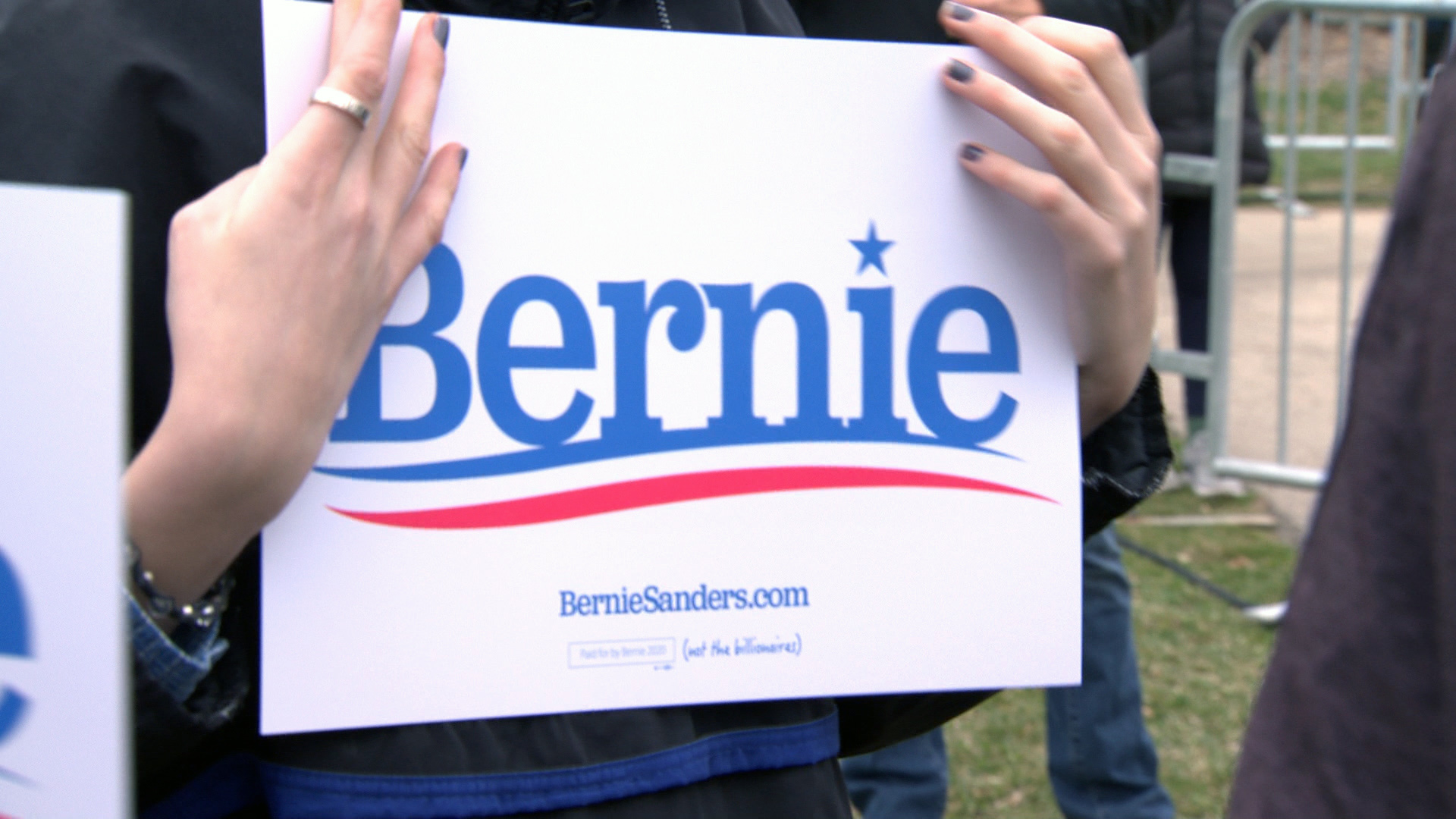 Campaign sign at a Bernie Sanders rally in Madison on April 12, 2019.