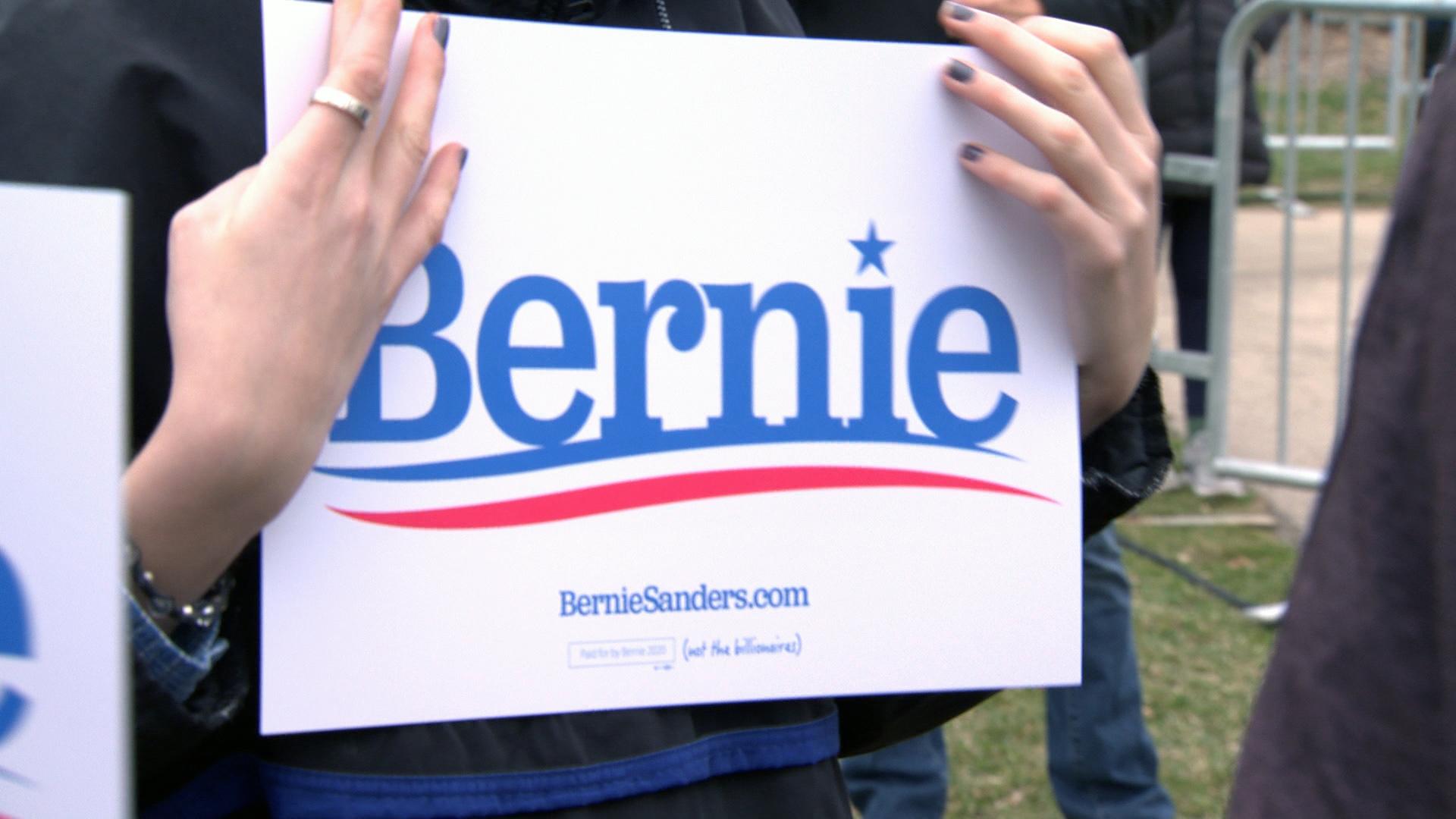 Bernie Sanders sign.