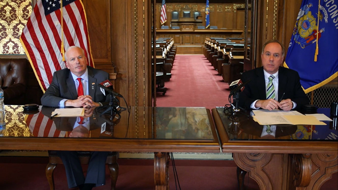 Senate Majority Leader Scott Fitzgerald and Assembly Speaker Robin Vos on a March 25, 2020 call with reporters.