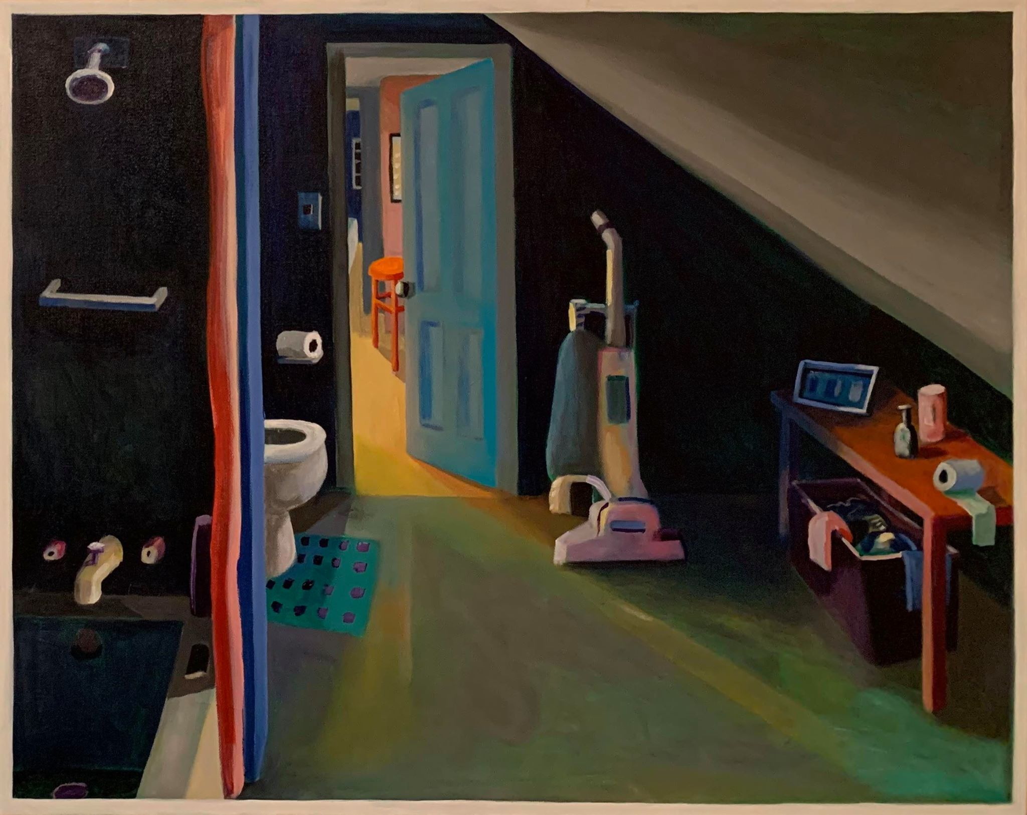 Acrylic on canvas painting of an empty apartment