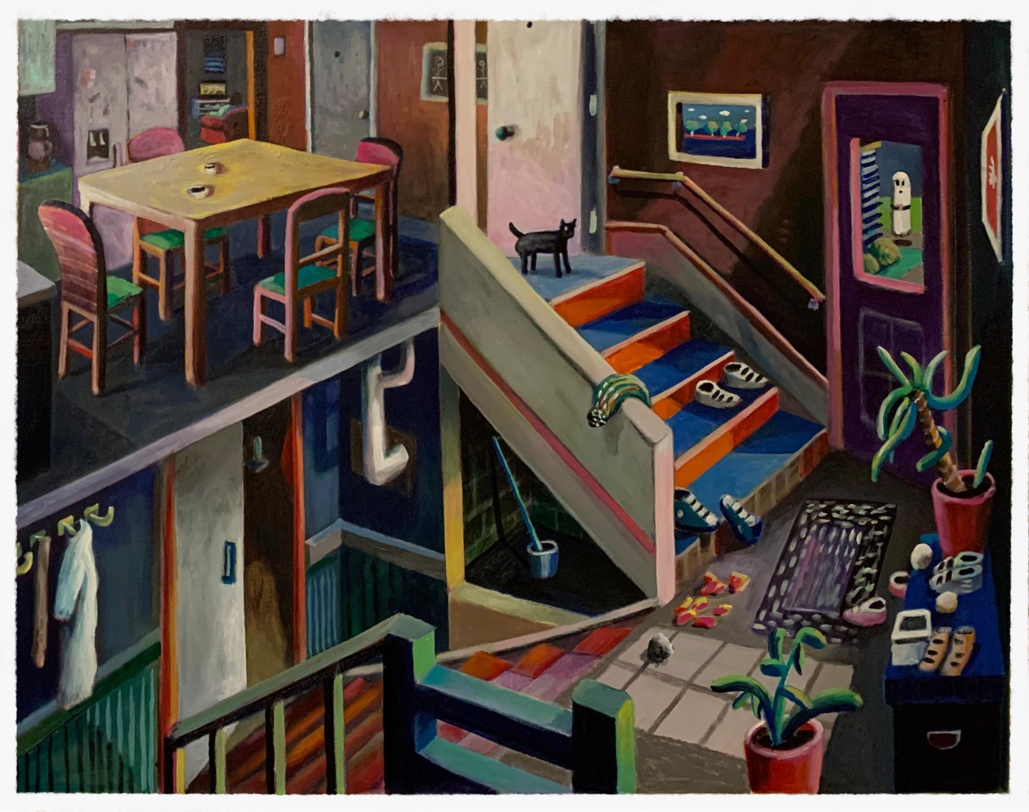 Acrylic on canvas painting of an apartment with a cat at top of stairs.