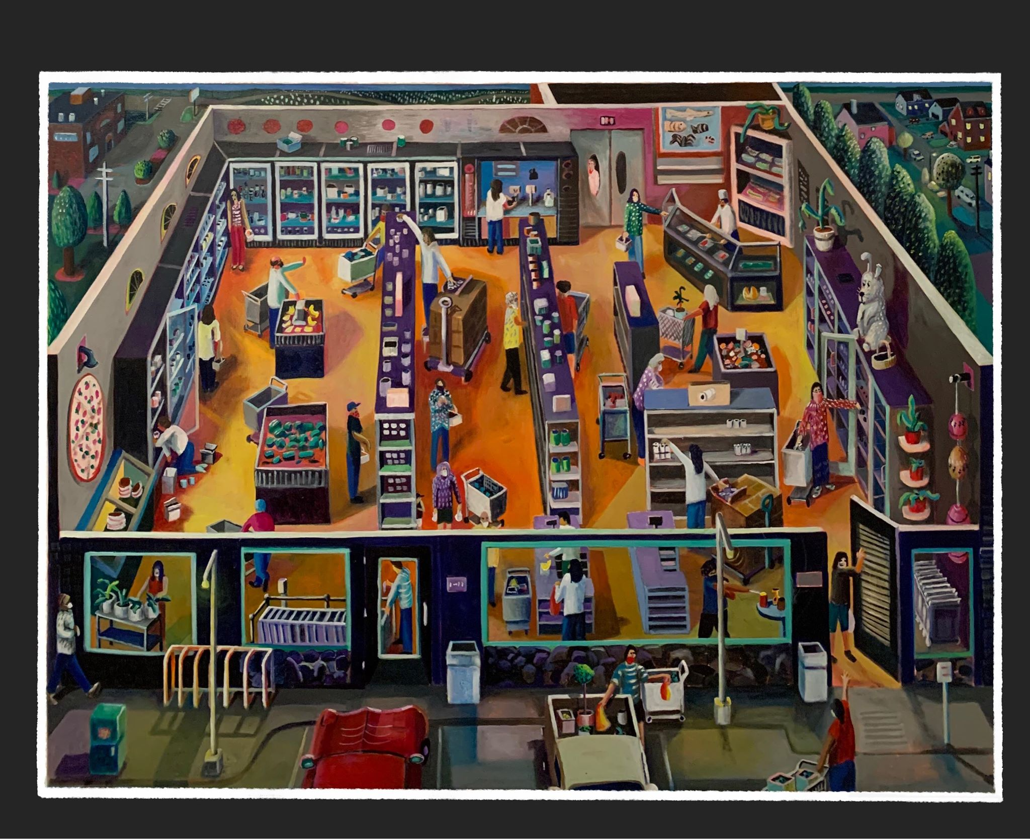 Painting of a grocery store with shoppers.