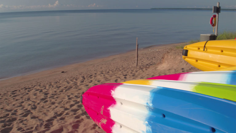 A group of kayaks at Whitefish Dunes State Park. Under the governor's new order, outdoor equipment like boats and ATVs can now be rented.