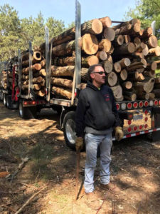Man standing behind truck loaded with logs