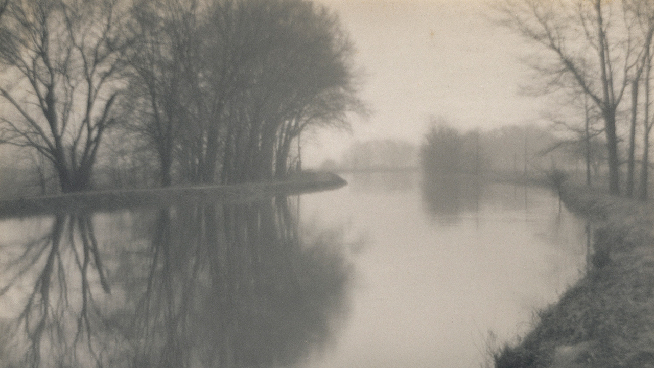 black and white photo print of tree-lined stream in fog