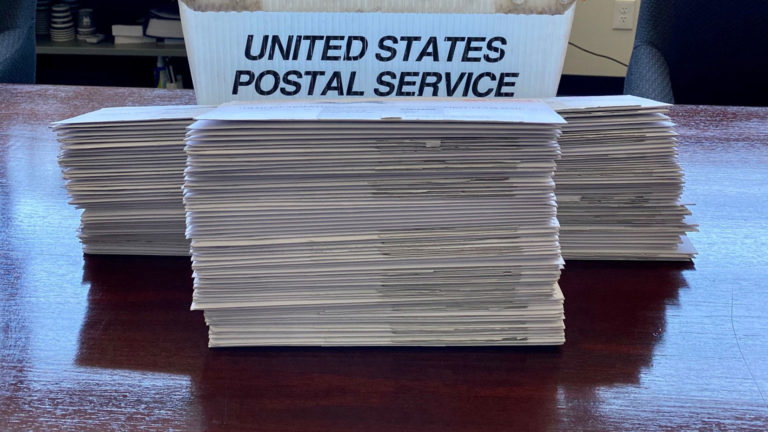 A stack of requested absentee ballots returned to the Village of Fox Point April 7, 2020. (Courtesy: Scott Botcher)