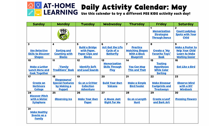 At-Home Learning activity calendar