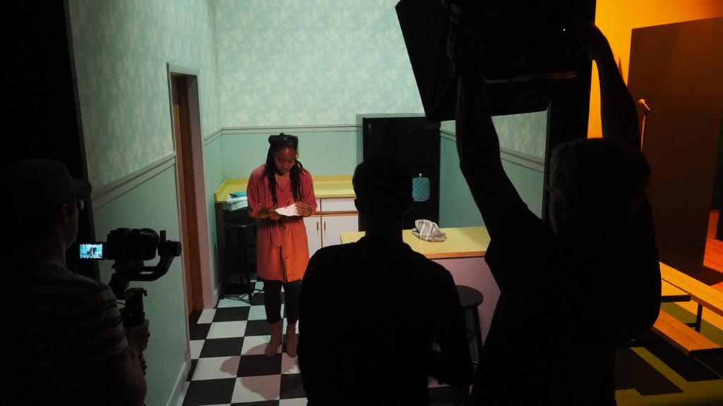 Zhalarina Sanders and film crew on set of The Light