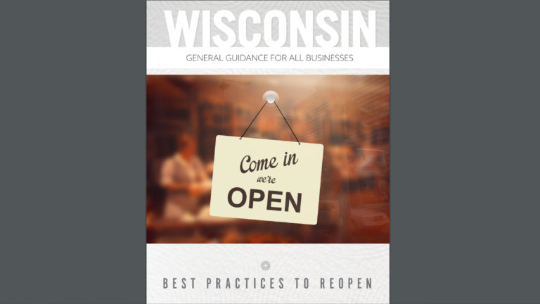 Cover photo of a guidance document the Evers administration provided to businesses to help them implement best practices when businesses reopen in the state.
