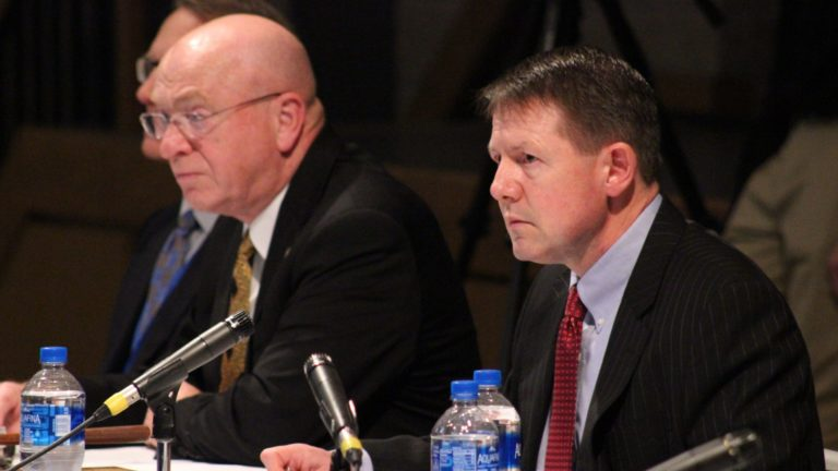 UW-System President Ray Cross (left) and former UW-Board of Regents President John Behling (right) hear testimony during the board's October 2017 meeting. (Courtesy: Rich Kremer / WPR)