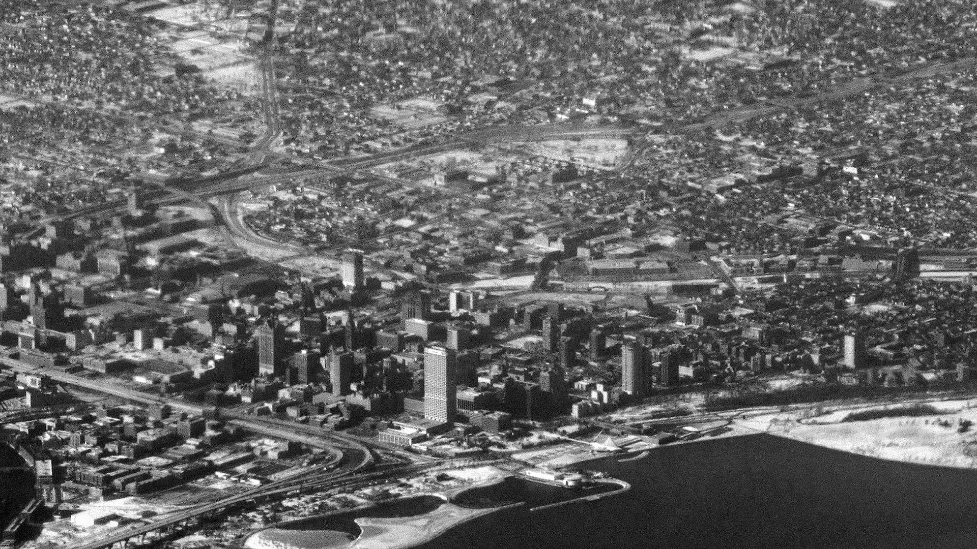 Historical photo of an aerial view of Milwaukee