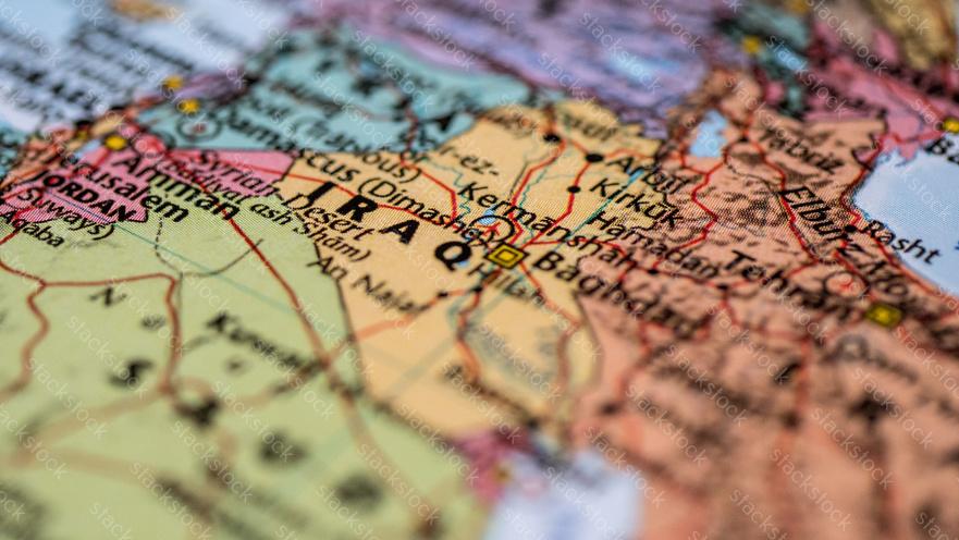 Macro shot of Iraq map