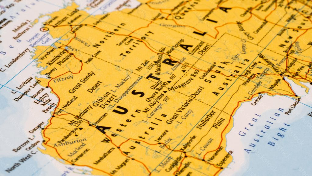 Close up shot of Australia on a map