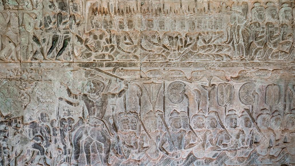 Wall Carving In Angkor Wat Cambodia Stackstock Com