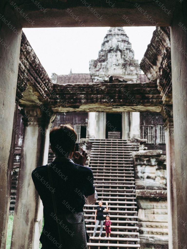 Tourist at Angkor Wat. Cambodia