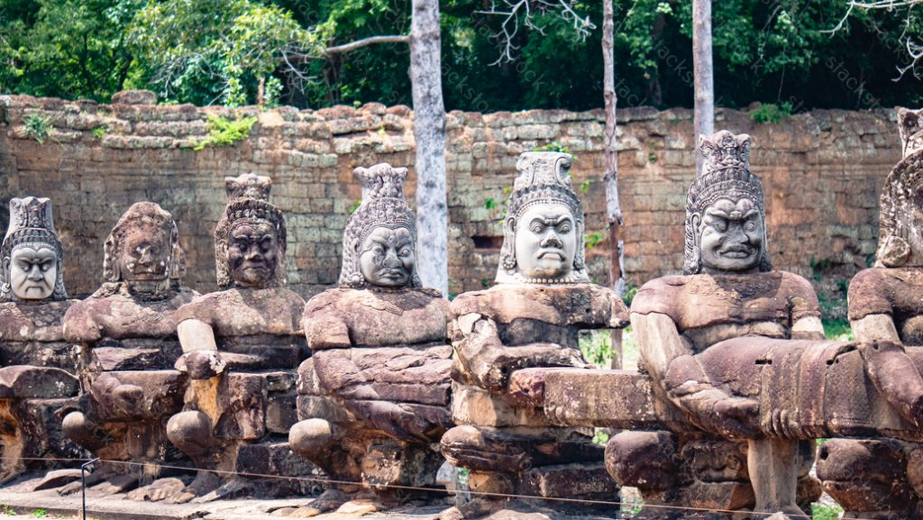South gate to Angkor Thom in Cambodia. Demon statue
