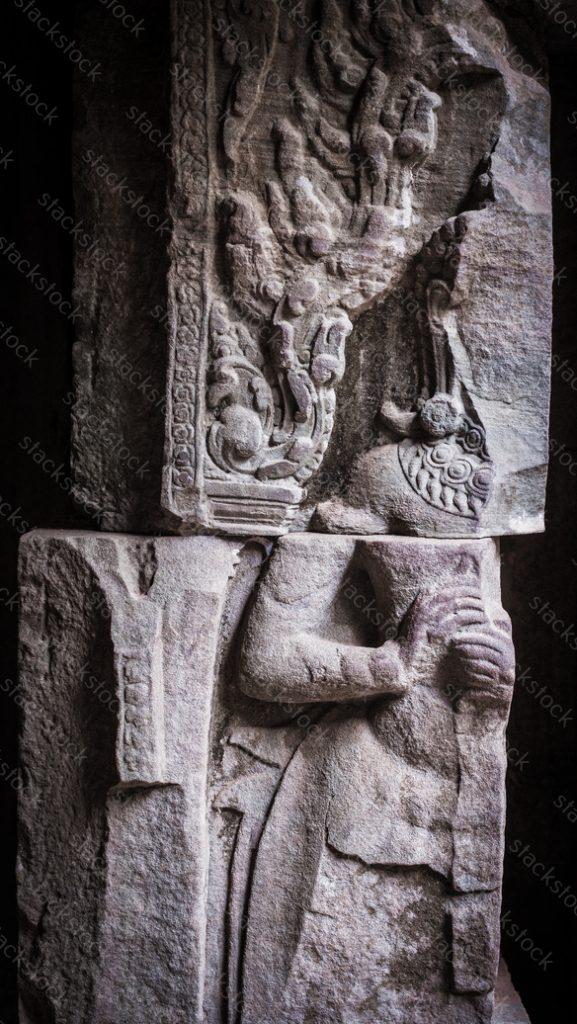 Apsara at Angkor thom, Seam Reap, Cambodia. Cracked. Broken