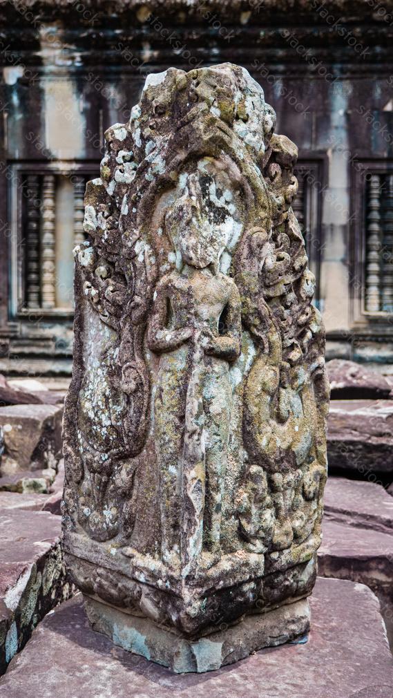 Angkor Wat Dancing Apsara Ladies Stone Carving. Cambodia