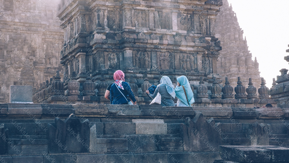 Tourist at Prambanan temple, Java, Indonesia.