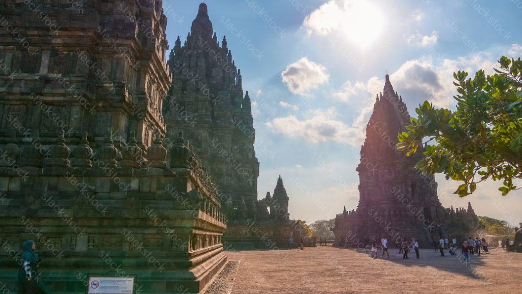 Tourist. Prambanan temple, Java, Indonesia.