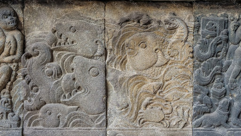 Stone carving of Prambanan Hindu temple, Yogyakarta, Indonesia