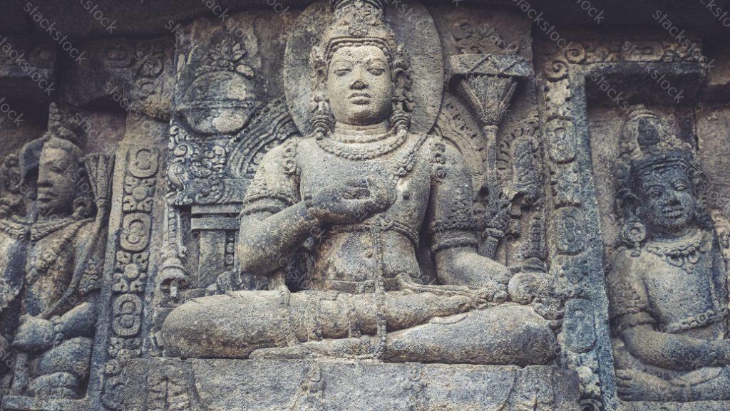 Bas-relief of meditating Buddha, Prambanan, Yogyakarta, Indonesia