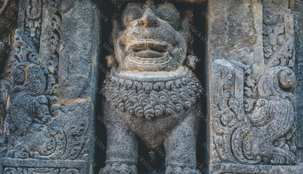 Stone carvings in Prambanan temple, Indonesia