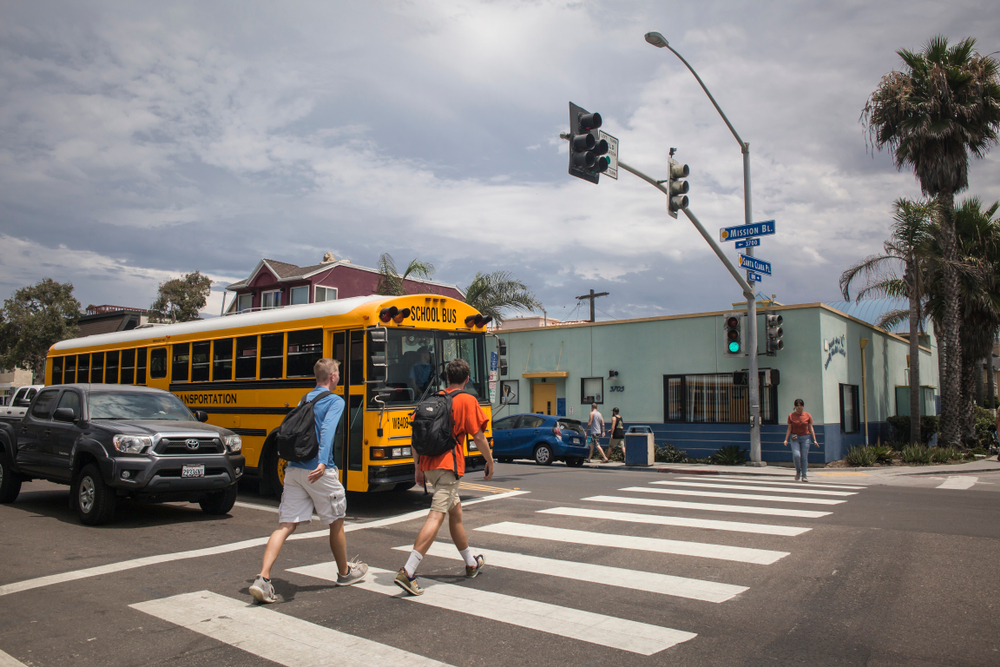 Kids crossing the street in California