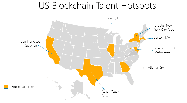 US blockchain talent hotspots