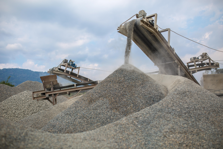 heavy industrial conveyor belt at quarry