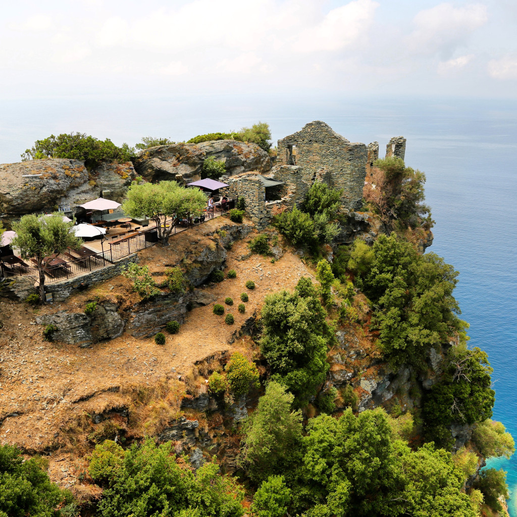 Nonza cafe on cliff